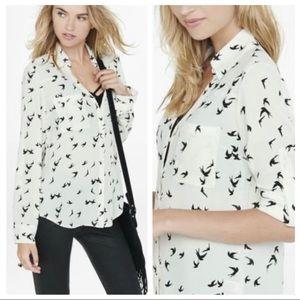 Express Ivory Bird Print Portofino Shirt Sz M